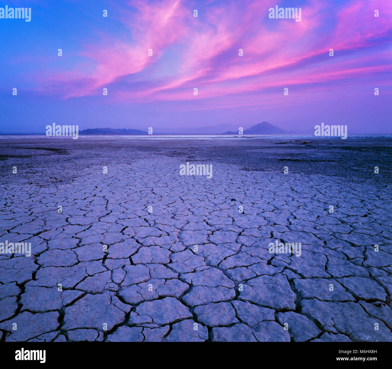 Dämmerung, Soda See, Zzyzx, Mojave National Preserve, Kalifornien Stockbild