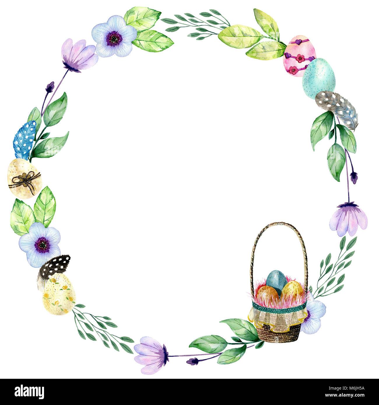 Handzeichnung Ostern Aquarell. Rahmen mit Korb mit Eiern und Blumen ...