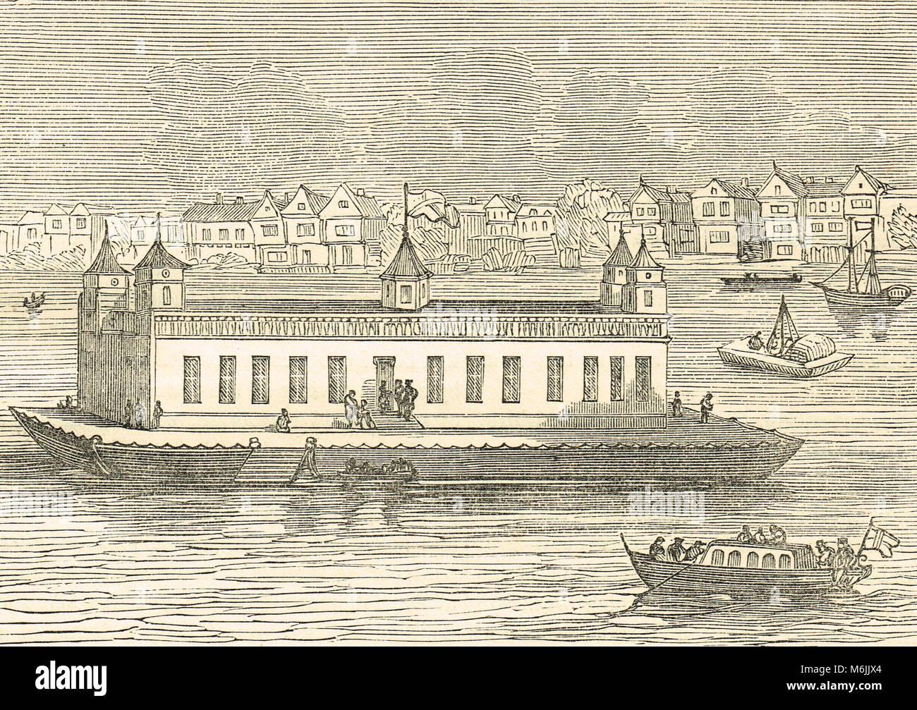 Die Torheit, auf der Themse, 17. Jahrhundert, schwimmende Haus der Unterhaltung, in der Regierungszeit von Karl Stockbild