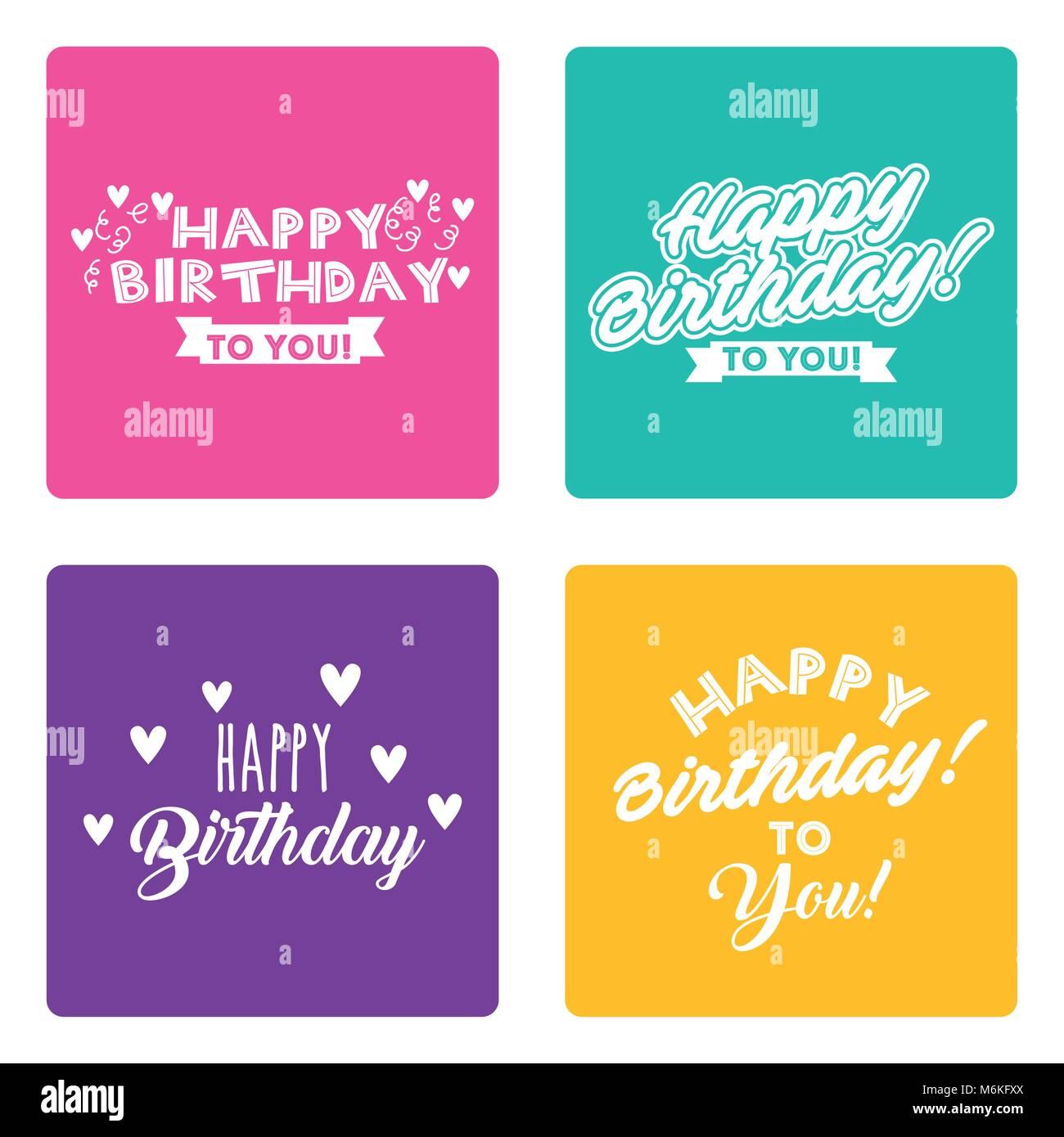 Happy Birthday Card Set Schriftzug Unterschiedlichen Stil Dekoration