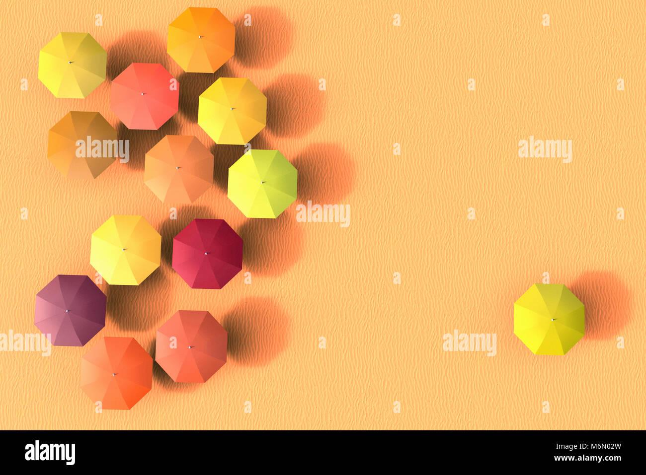 3D-Rendering für eine Gruppe von Sonnenschirme mit einem aus der Gruppe ausschließen Stockfoto