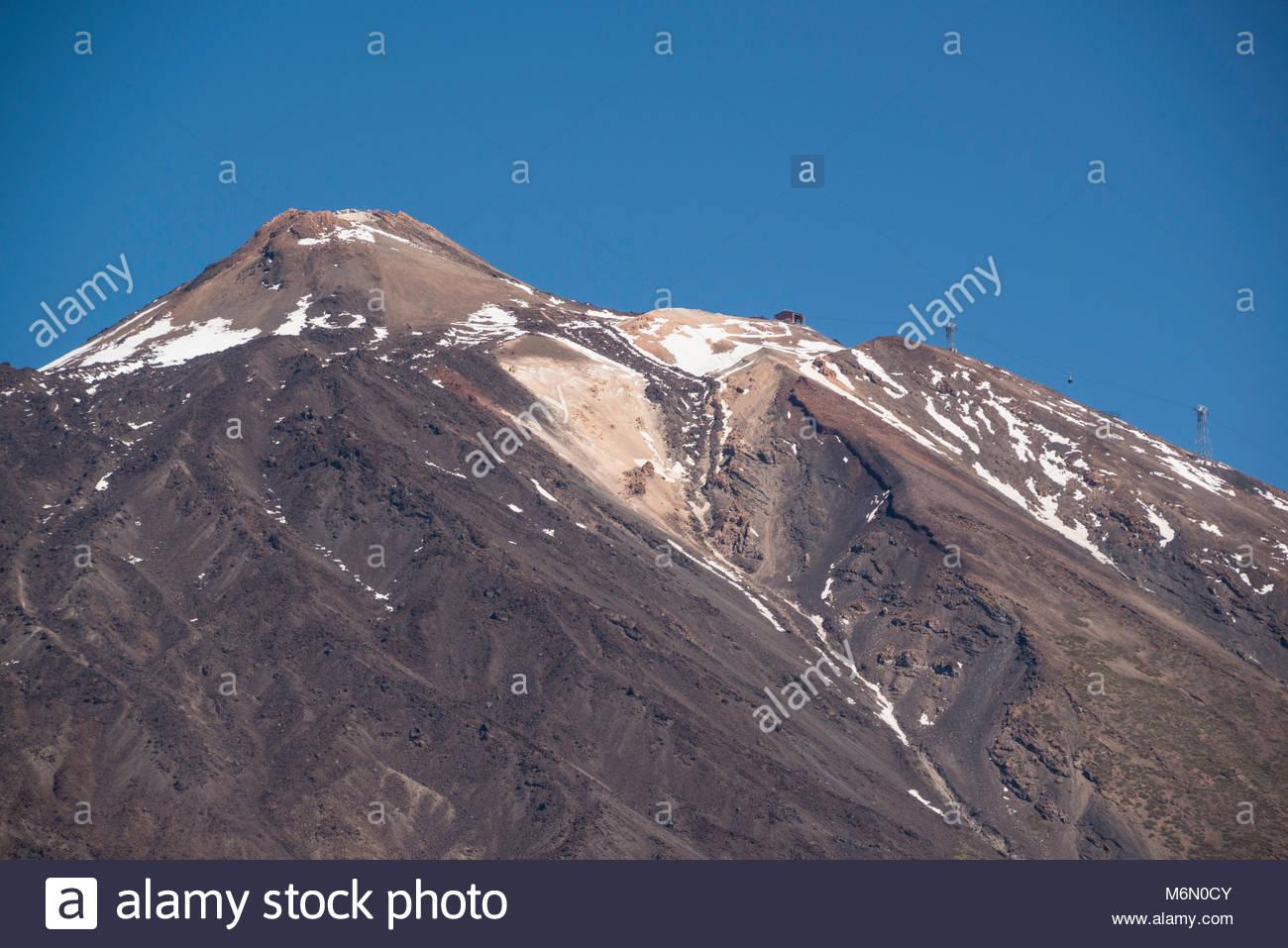 Höhepunkt der schneebedeckten Teide Stockbild