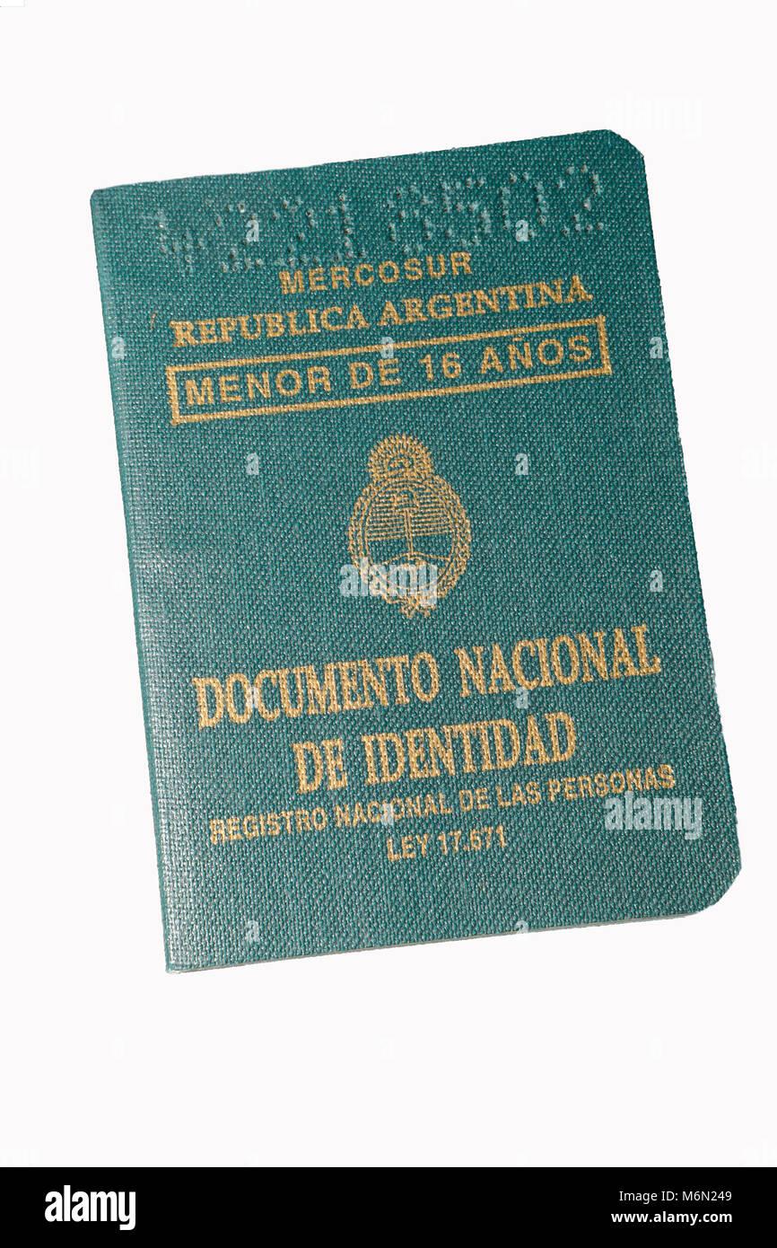 Mercosur. Personalausweis unter 16 Jahren in Argentinien Stockbild