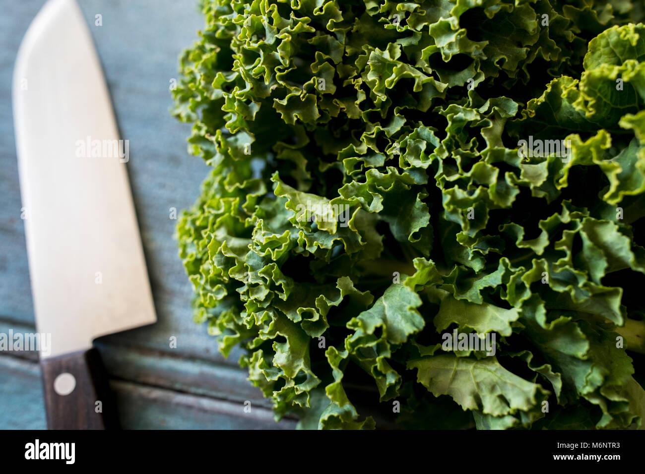 Nahaufnahme von frischen Grünkohl am Tisch mit Messer Stockbild