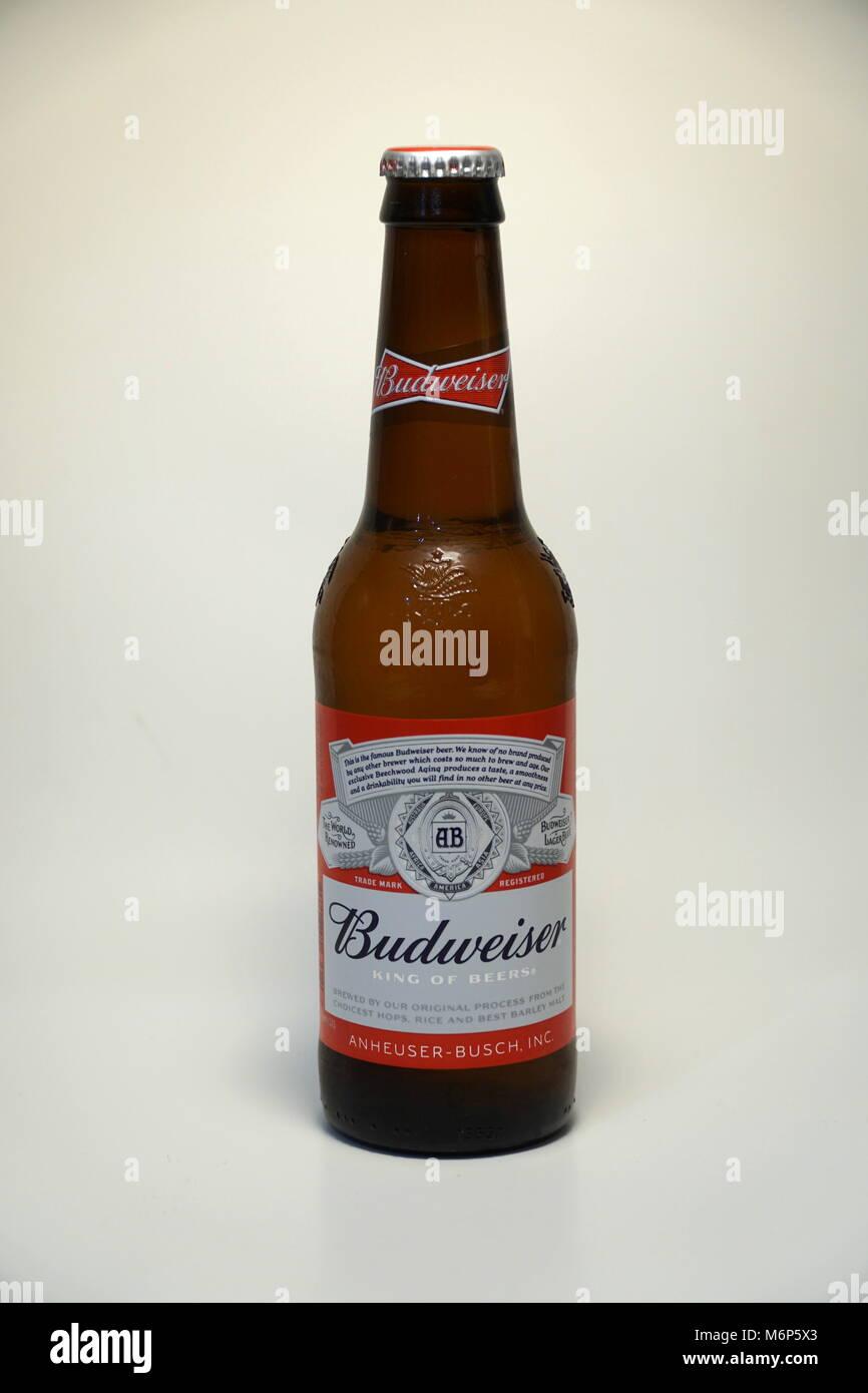 Budweiser Bier Flasche. Im amerikanischen Stil, hellem Bier und ...