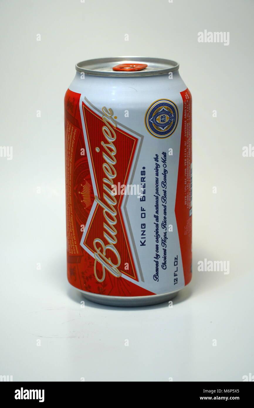 Budweiser Bier. Im amerikanischen Stil, hellem Bier und nicht ...