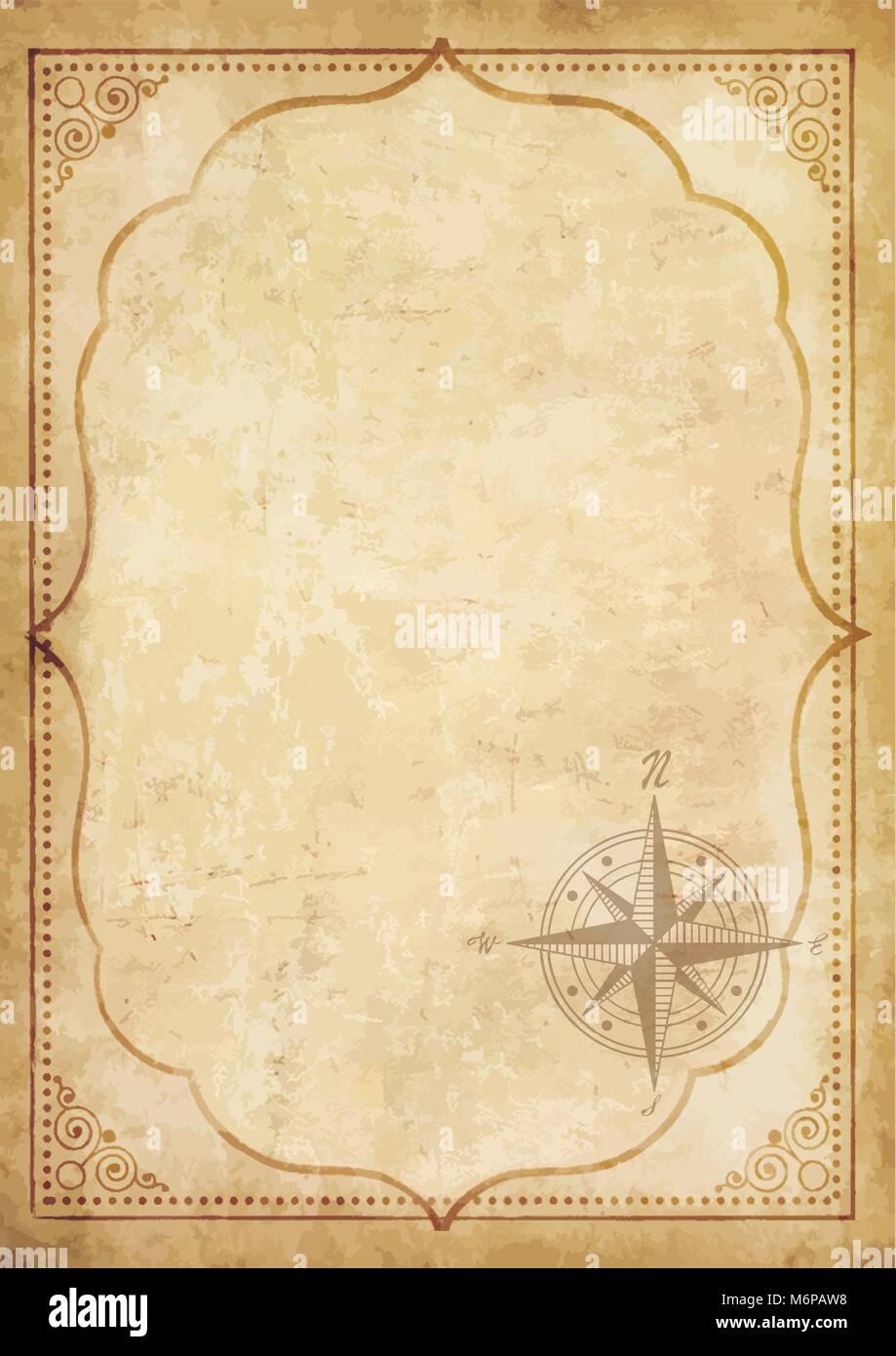 Alte vintage Papier mit Windrose Kompass anmelden. Sehr detaillierte ...