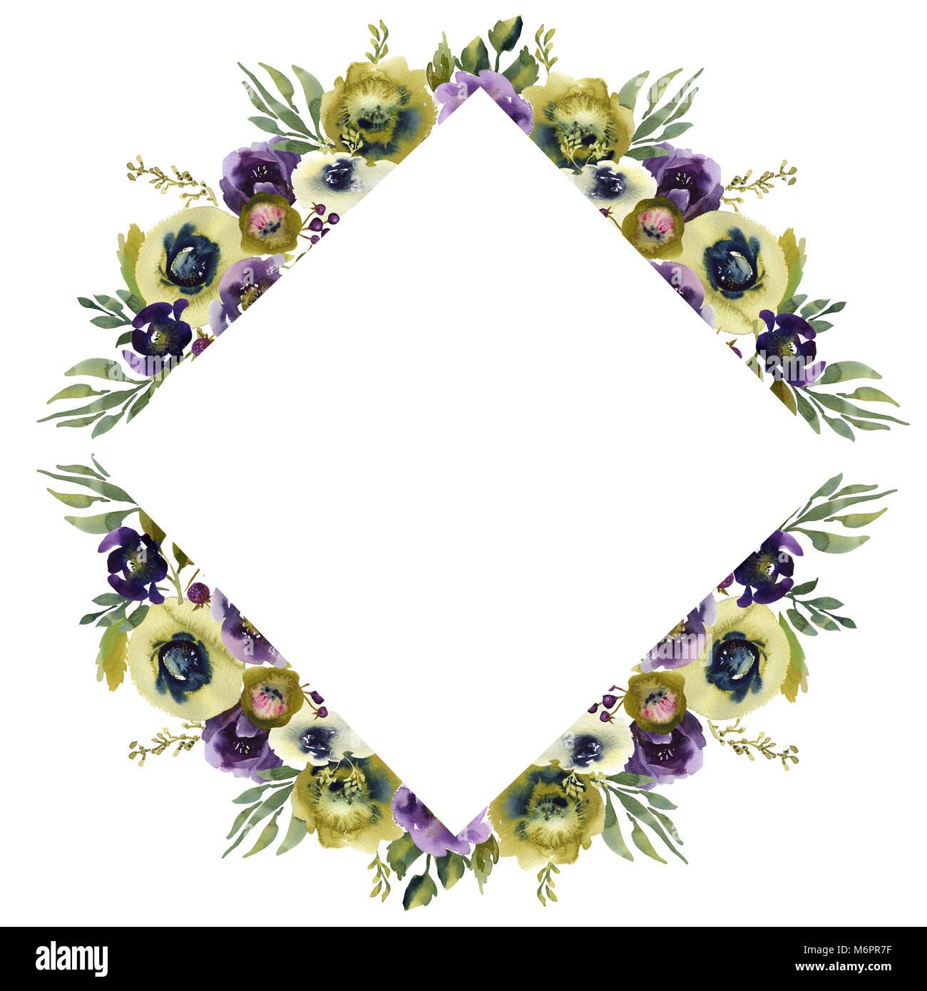 Hochzeit Frame Kranz Grun Und Lila Blumen Ornament Stockfoto Bild