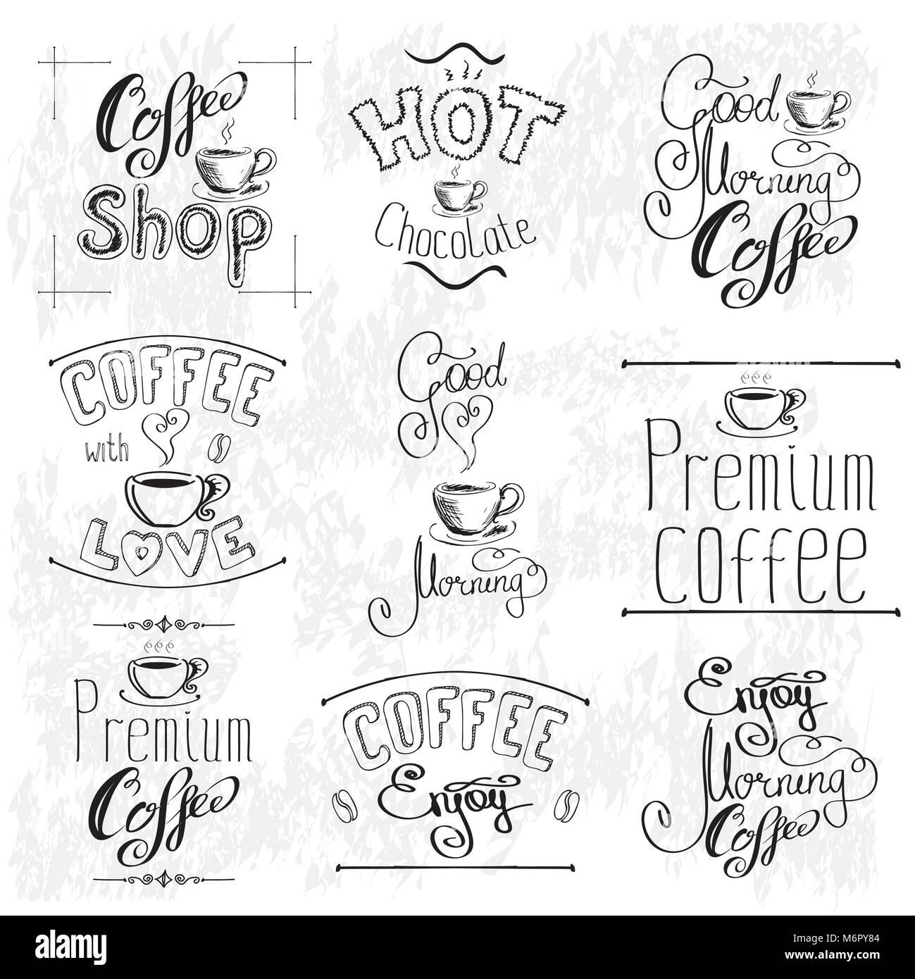 Satz von Kaffee Labels. Sammlung vorlagen. Satz von Kalligrafischen ...