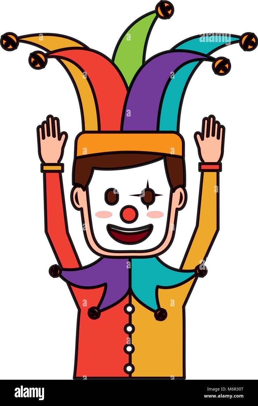 Cartoon Mann Mit Clown Maske Hofnarr Hut Lustig Vector Illustration