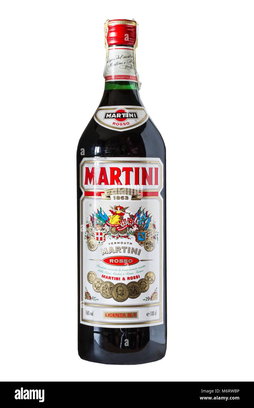 Flasche Martini Rosso, Italienisch alkoholisches Getränk Stockfoto ...