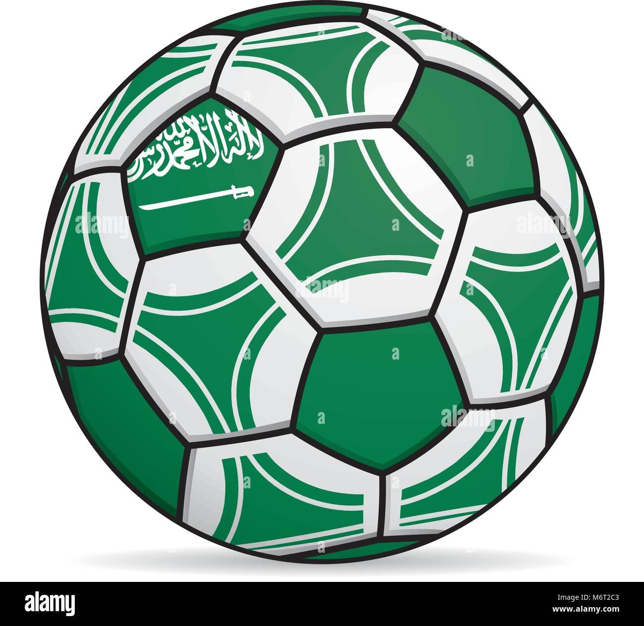Fußball mit den Farben der saudi-arabischen Flagge. Vektorbild ...