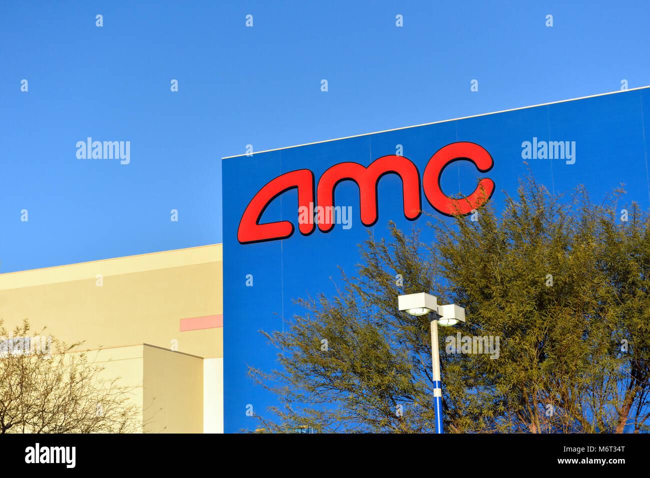 Außen- und Zeichen der AMC-Zentrum Film Theater in Las Vegas, Nevada. Stockbild