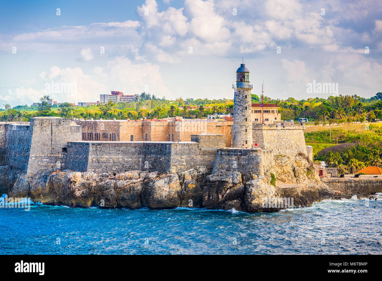 Havanna, Kuba Light House von La Cabana Fort. Stockbild