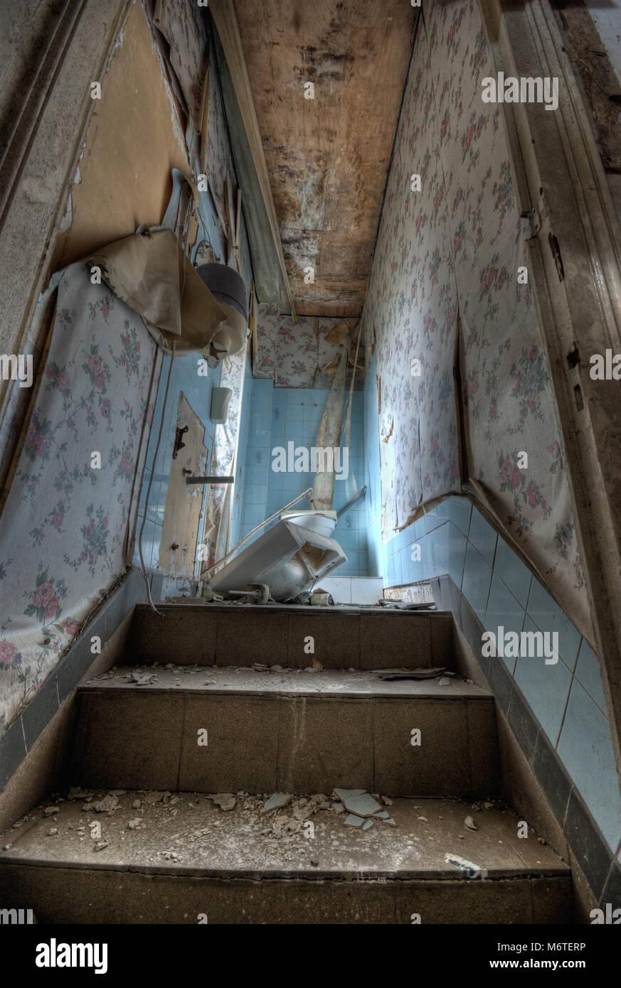 Ruiniert Bad in einem verlassenen Haus nach Wasserschaden ...