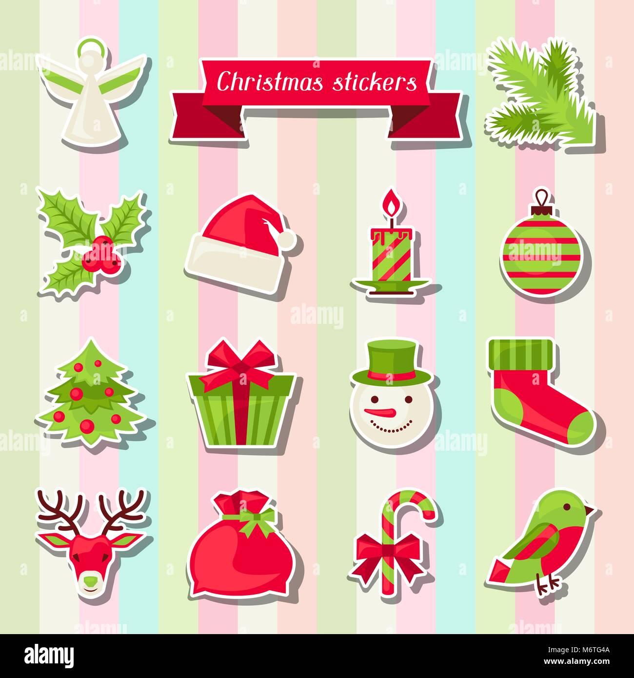 Frohe Weihnachten Aufkleber.Satz Von Frohe Weihnachten Aufkleber Vektor Abbildung Bild
