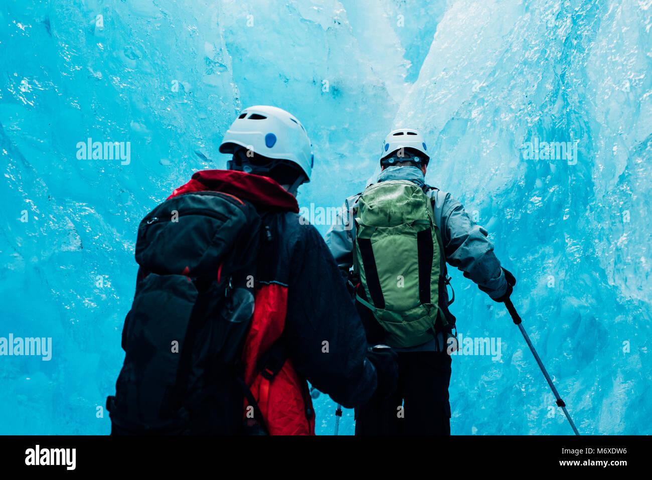Eisklettern an der Ausfahrt Glacier Stockbild