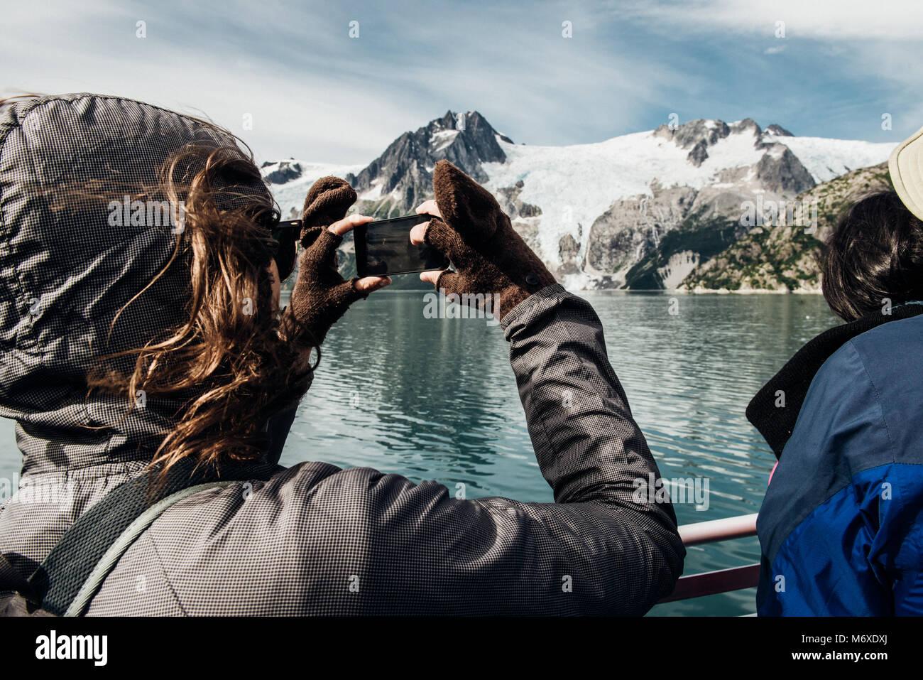 Whale Watching an der Ausfahrt Glacier Stockbild