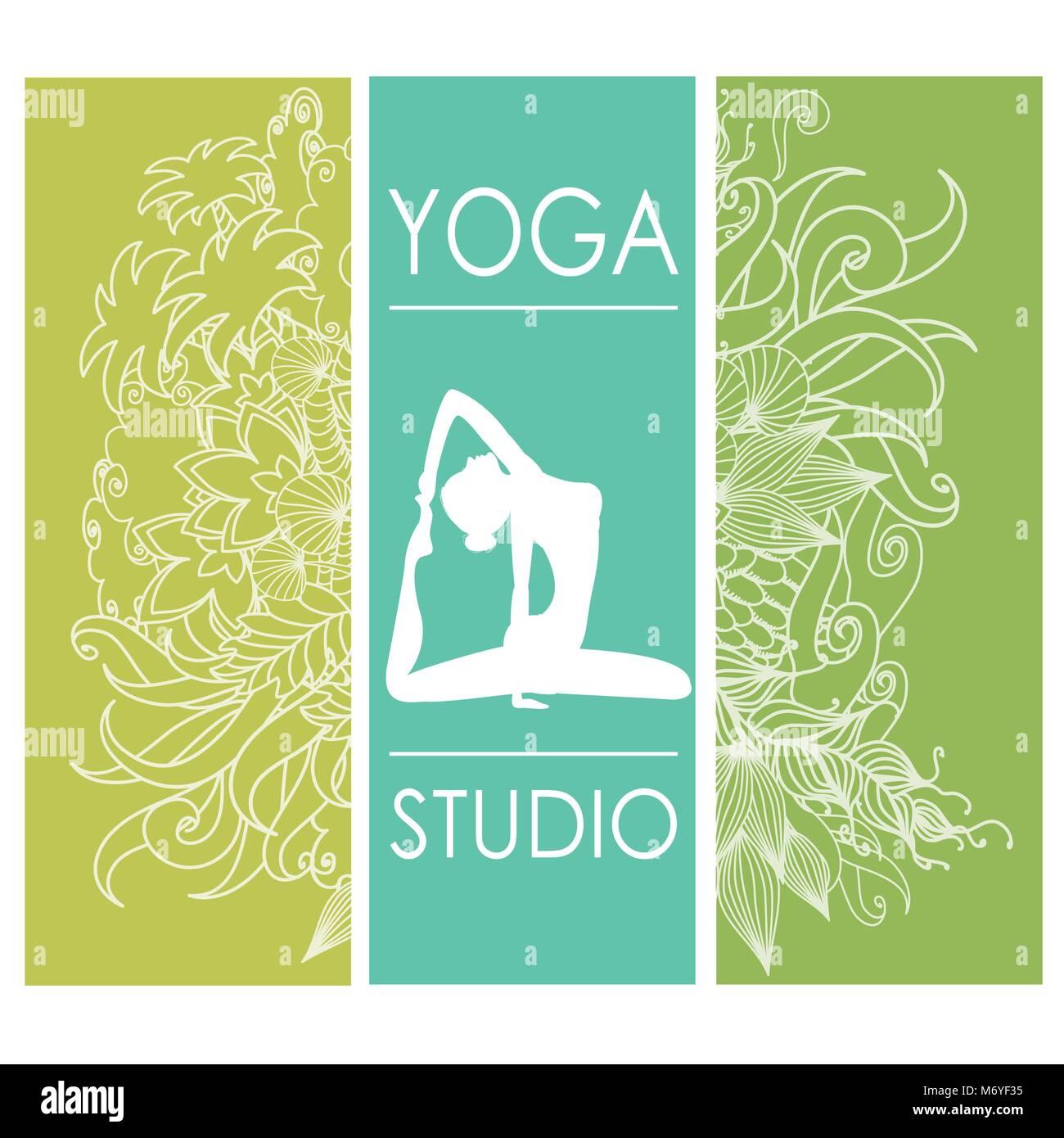 Karte für Frau Yoga Studio mit floralen Ornament, Banner oder ...