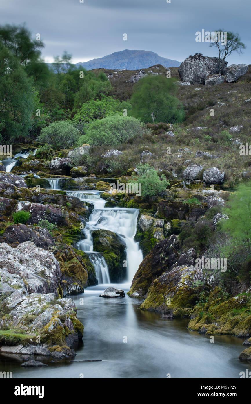 Die Wasserfälle von Balgy, Loch Torridon, Wester Ross, Schottland, Großbritannien Stockbild
