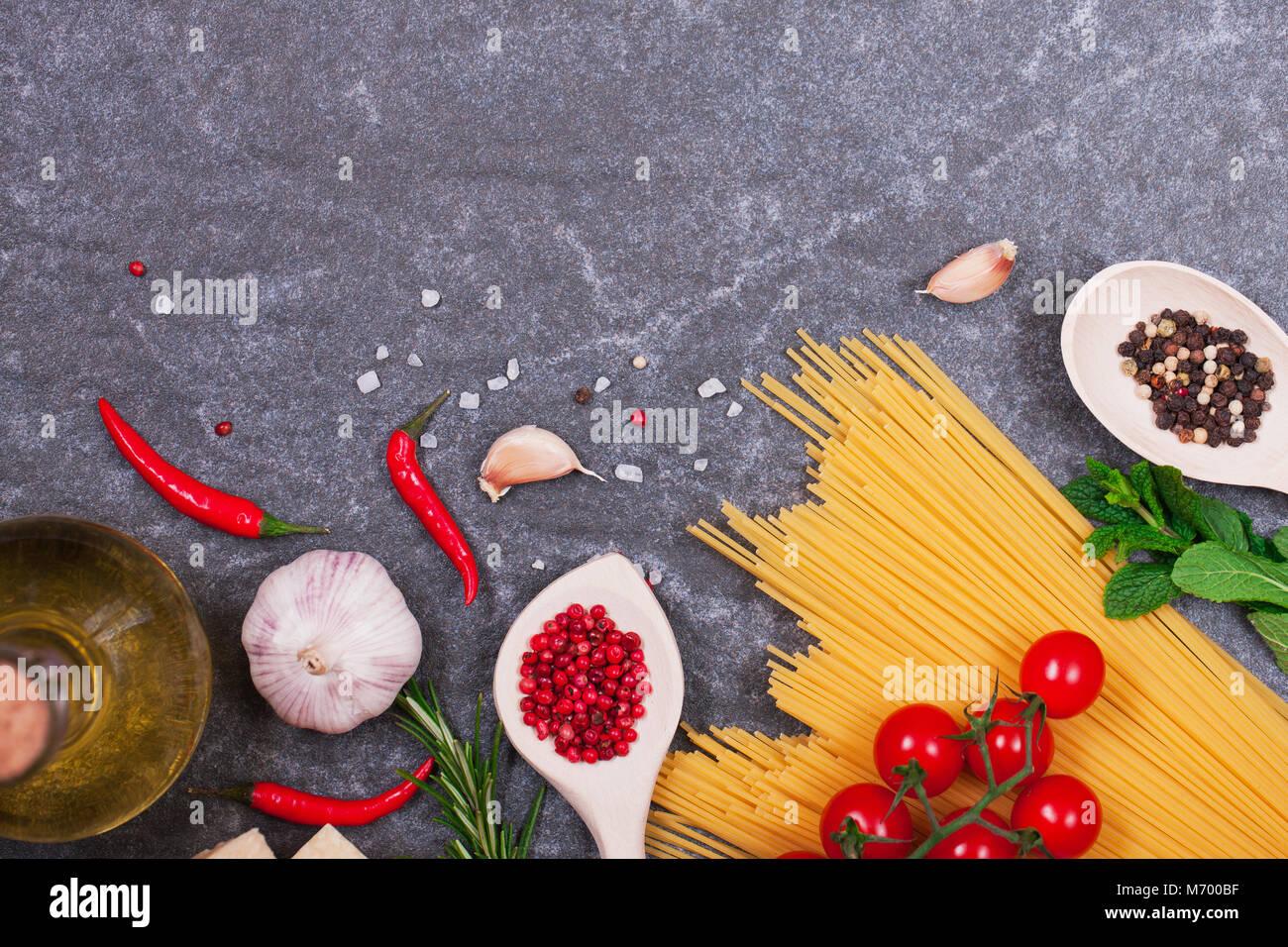 Italienische Produkte Ansicht von oben mit der Kopie Raum Stockbild