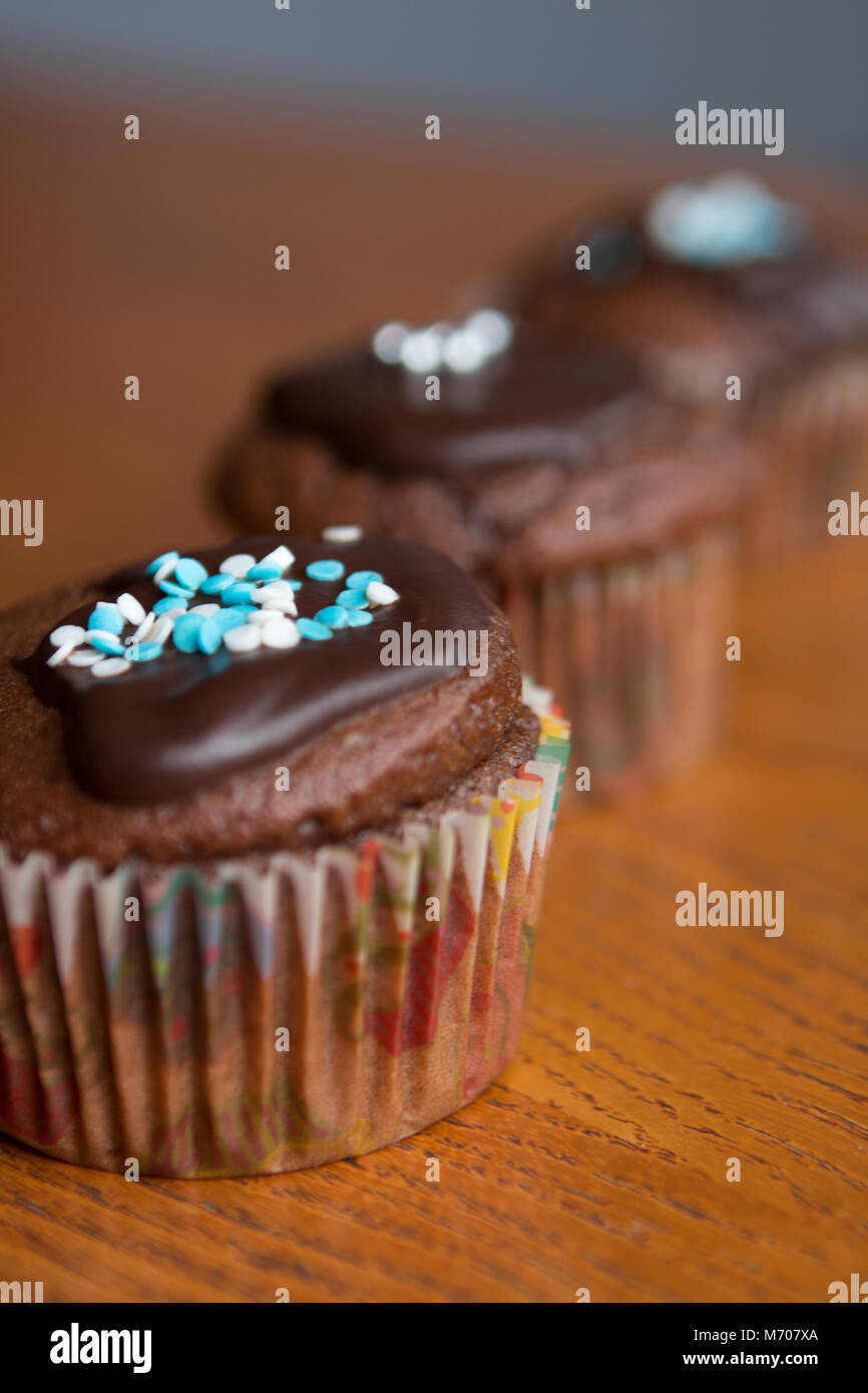Hausgemachte Schokolade cupcakes Stockbild