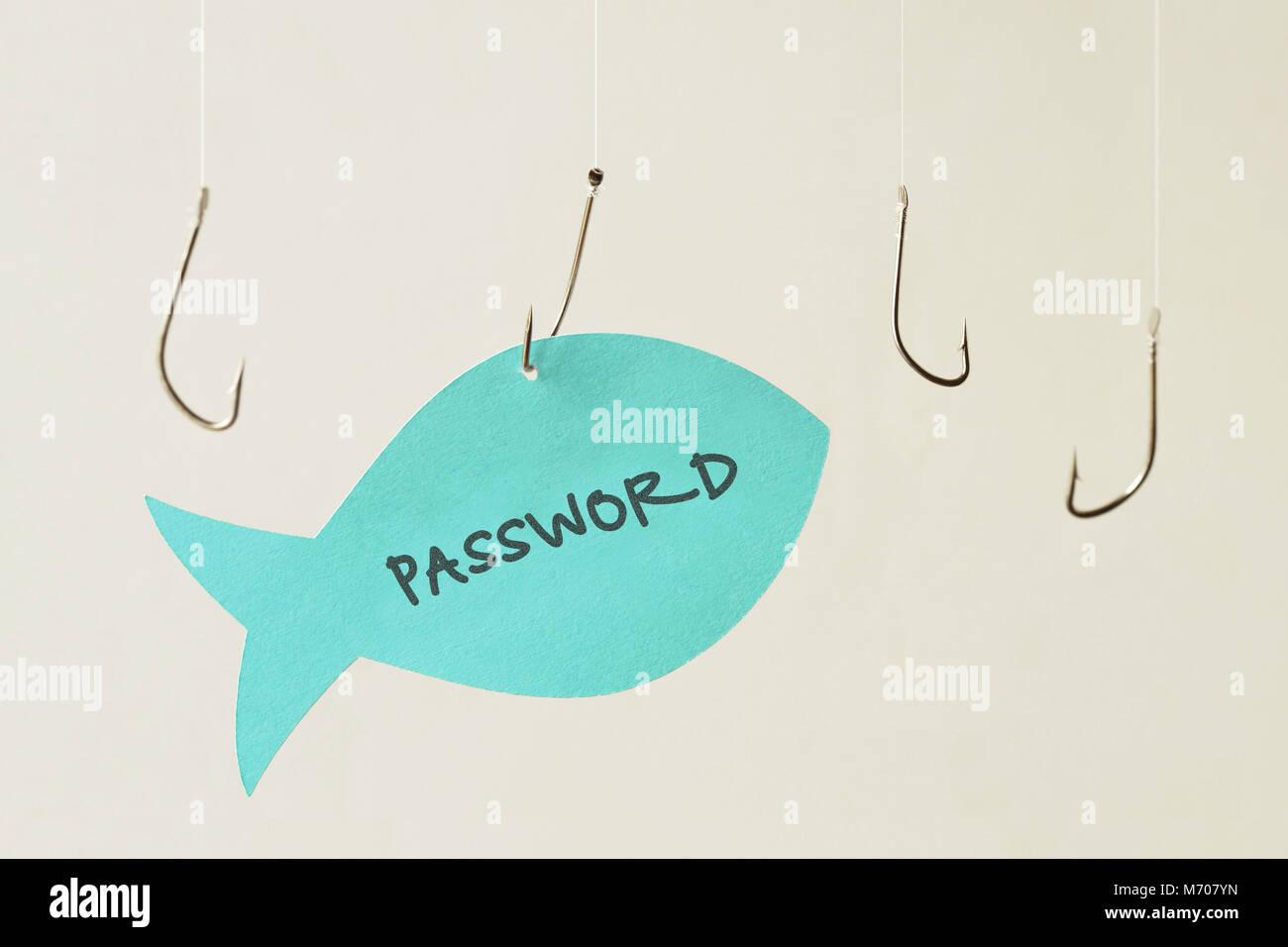 Fisch Haken und Kennwort auf einem Papier Hinweis in Form eines Fisches geschrieben - Phishing und Internet Security Stockfoto