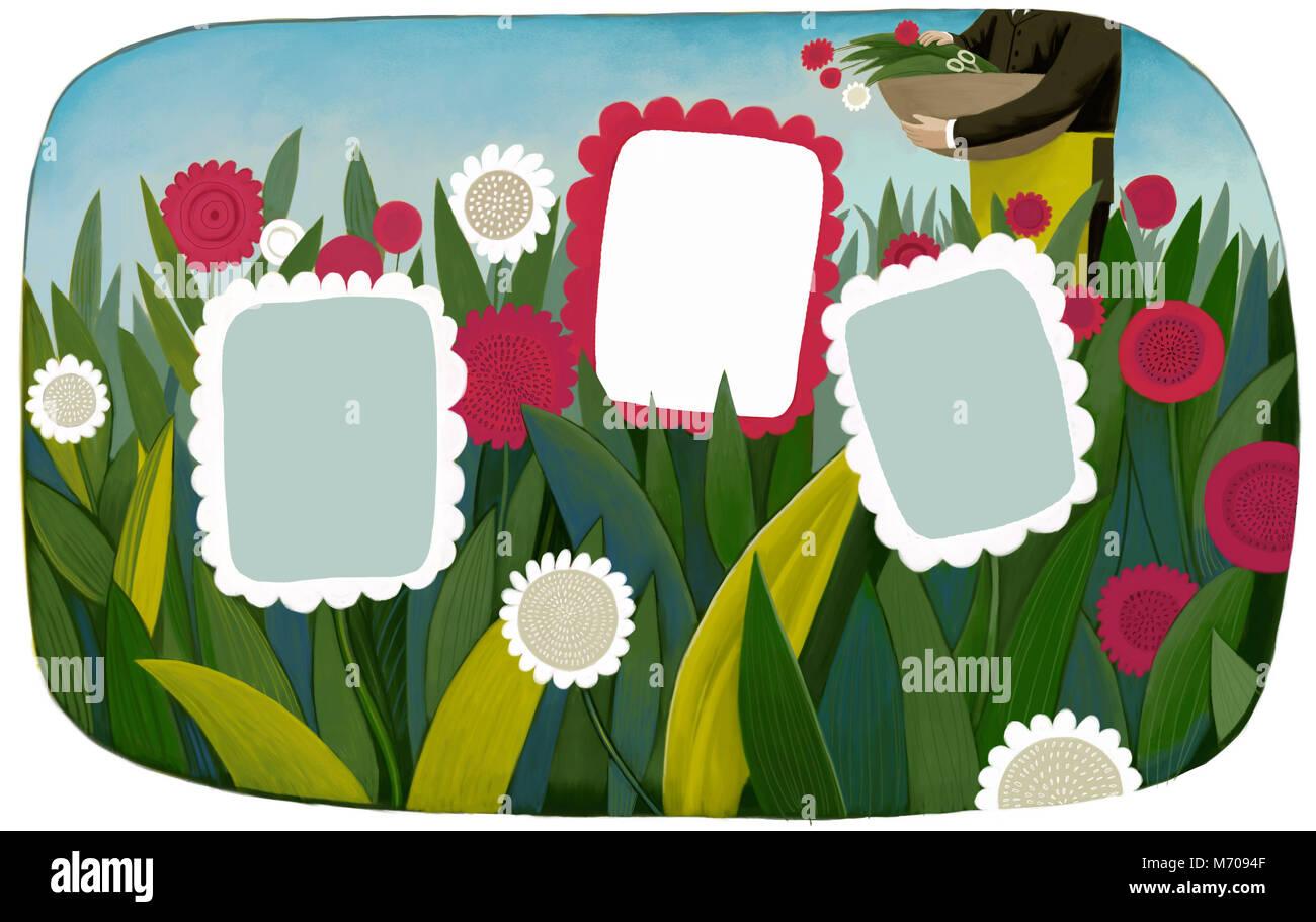 Ein Beispiel für eine Schablone Blume Frames auf ein Feld mit einem ...