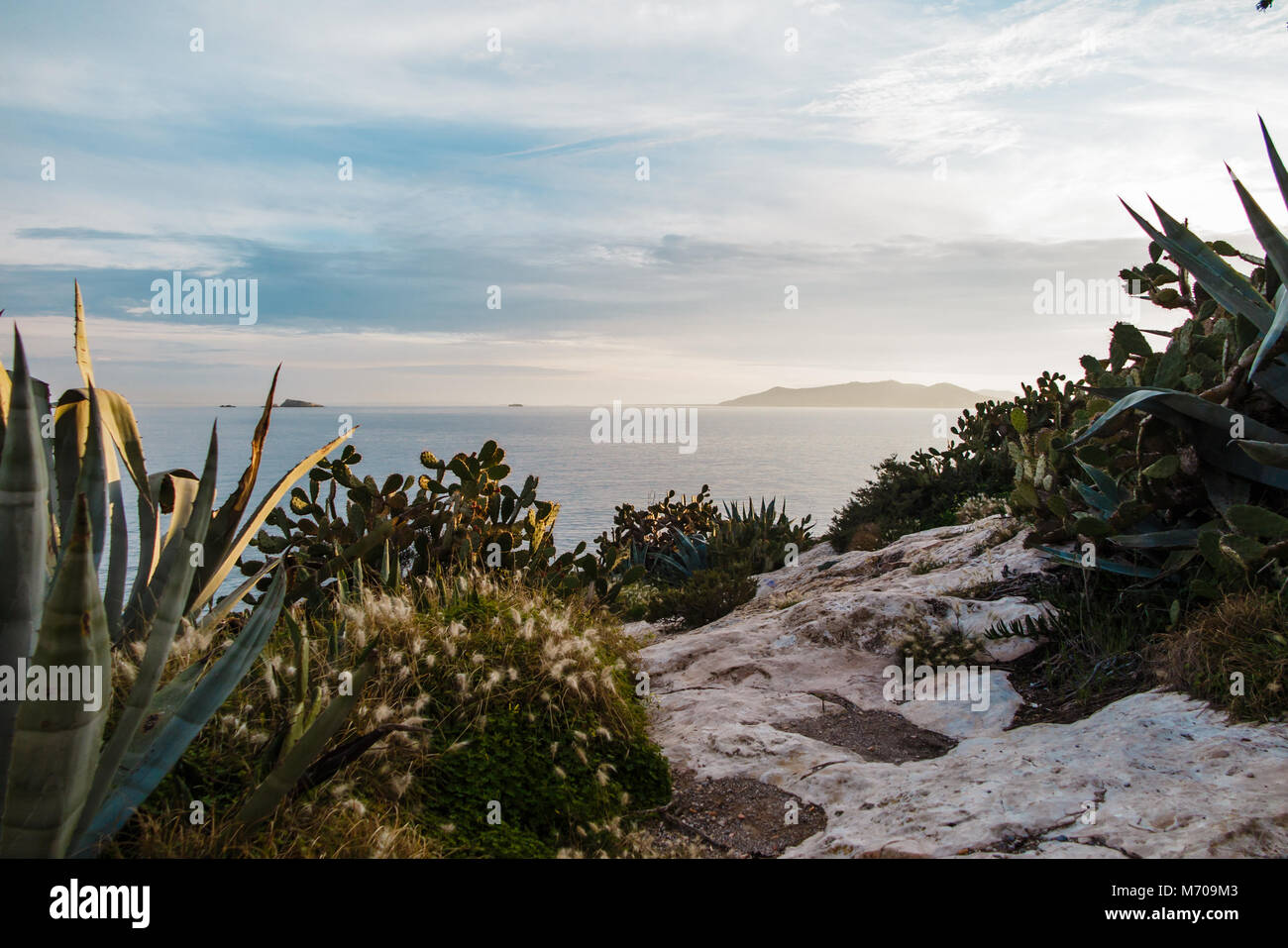 Ibiza Sunset Cliff View Stockbild