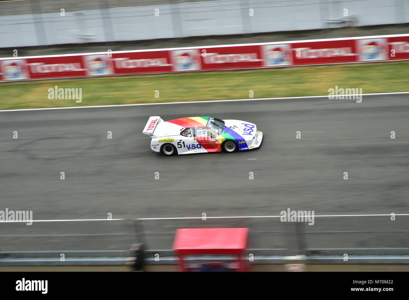Pierre Desnos, BMW M1, 2014, Rundstrecke, Classic, Classic Racing Cars, Frankreich, begeisterte Zuschauer, La Sarthe, Stockbild