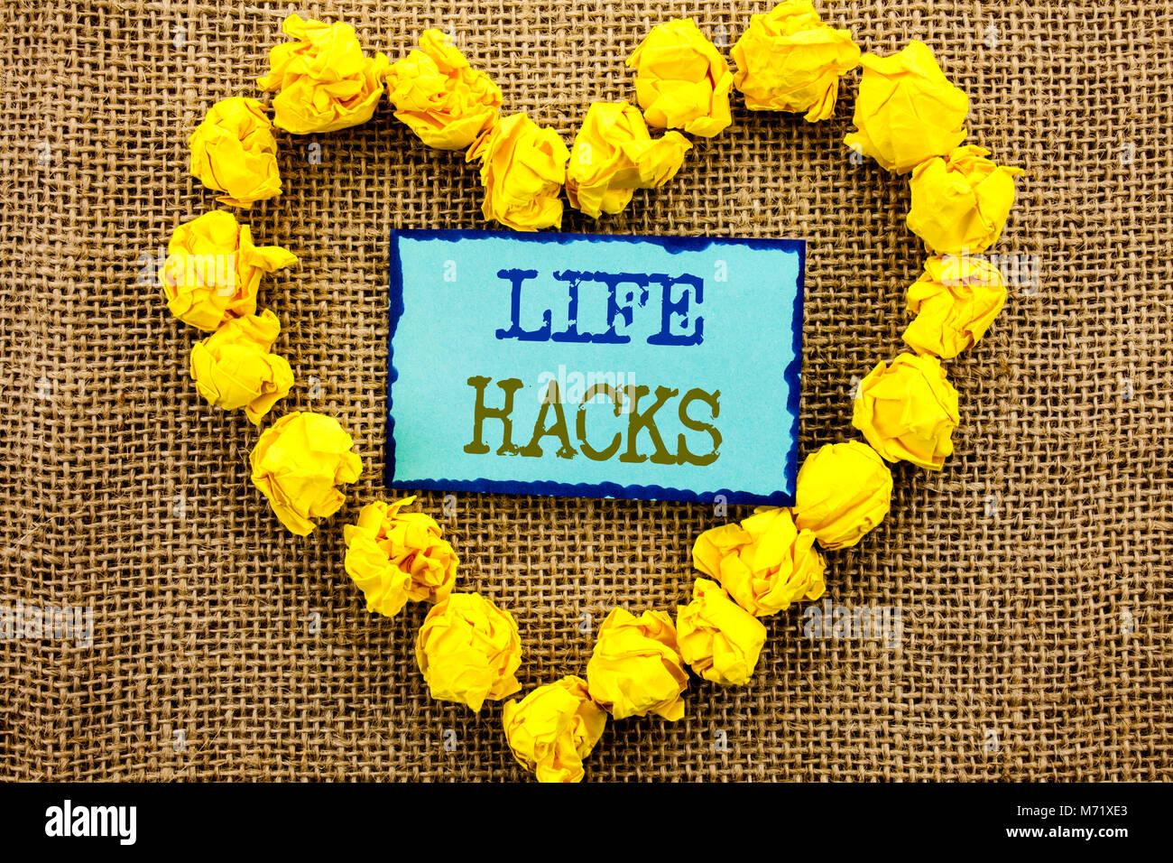 Wort, Schrift, Text Leben Hacks. Business Konzept für Lösung Hacking Hack Trick Effizienz schriftliche Stockbild
