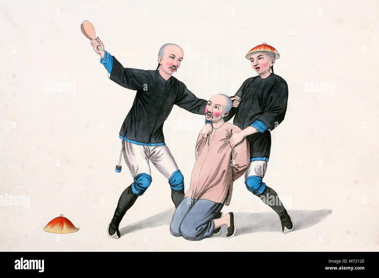 Bestrafung einer bootsmann - In verurteilt wurde, ist er in die Knie gezwungen, einer der Offiziere ihn verhindert Stockbild