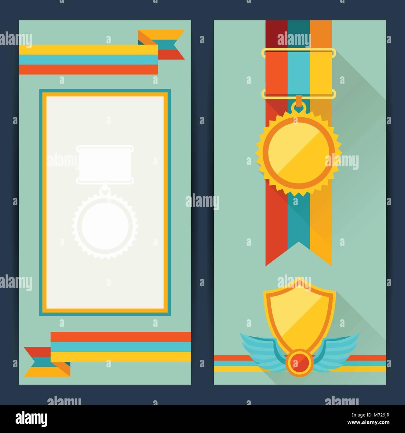 Zertifikatvorlagen mit Auszeichnungen im flachen Design Stil Vektor ...