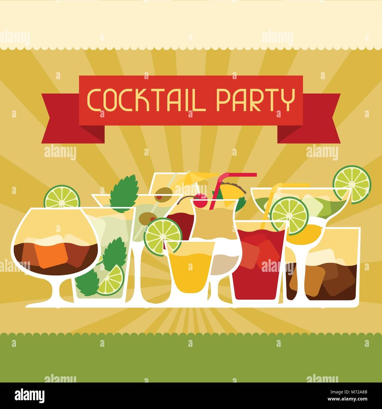 Party Einladung mit Alkohol Getränke und Cocktails Vektor Abbildung ...