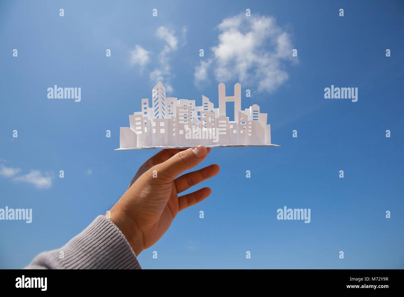 Stadt Papiermodell, Bau Projekt. Stockbild