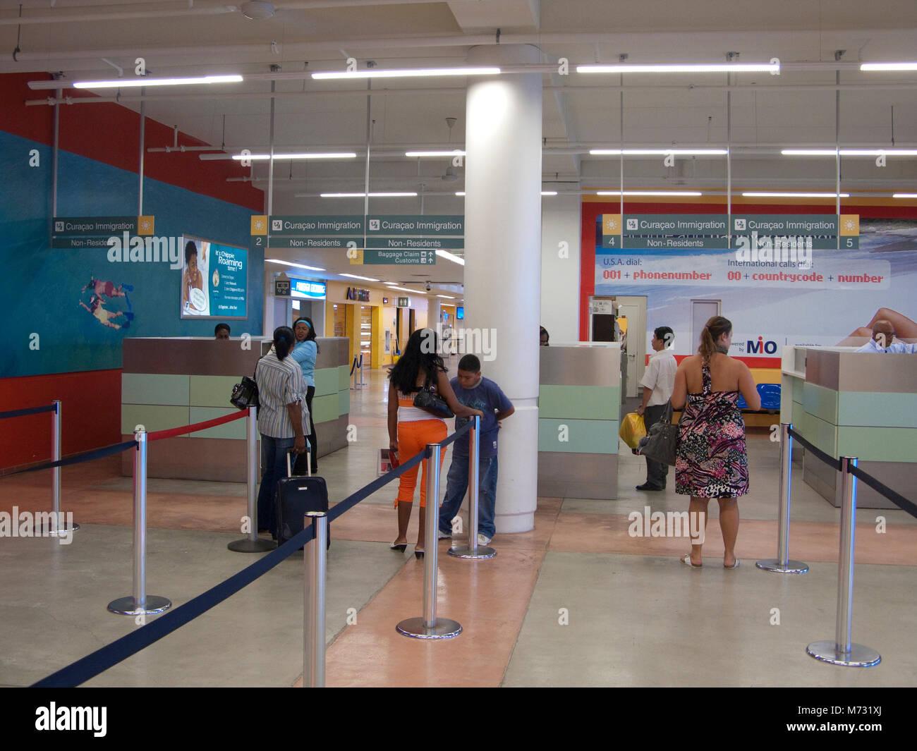 Einwanderung im Hato International Airport, Curacao, Niederländische Antillen, Karibik, Karibik Stockbild