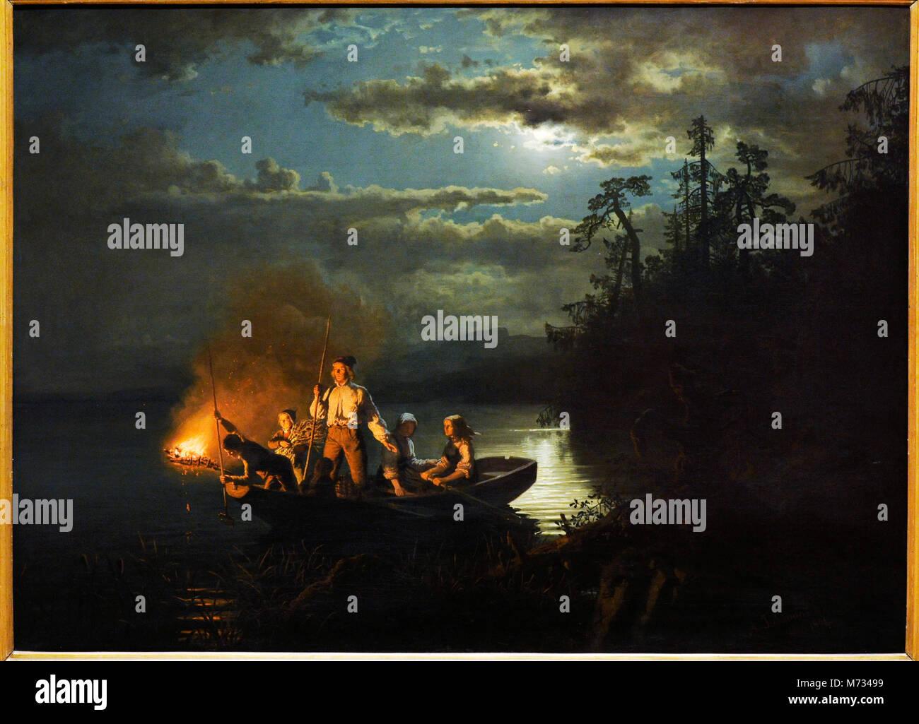 Tidemand Adolph (1814-1876) und Hans Gude (1825-1903). Norwegische romantische Maler. Unterwasserjagd auf dem See Stockbild