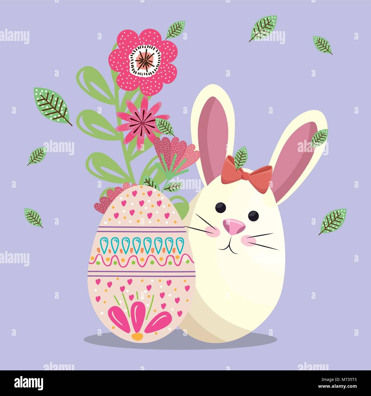 Niedliche Kaninchen Frohe Ostern Karte Vektor Abbildung Bild