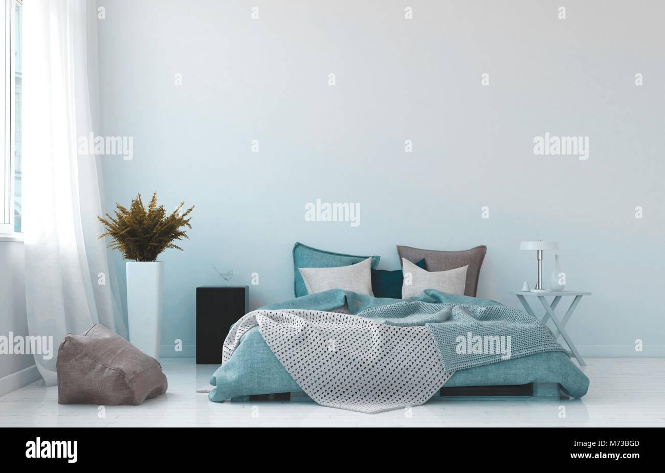 Coole, Blaue und Weiße Schlafzimmer Innenraum mit einem Rumpled ...