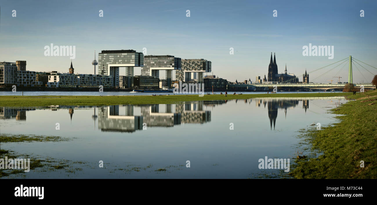 Koln Am Rhein Nach Der Uberschwemmung Poller Rheinwiesen Noch Unter Wasser Reflexionen Der Kranhauser Der Rheinauhafen Stockfotografie Alamy