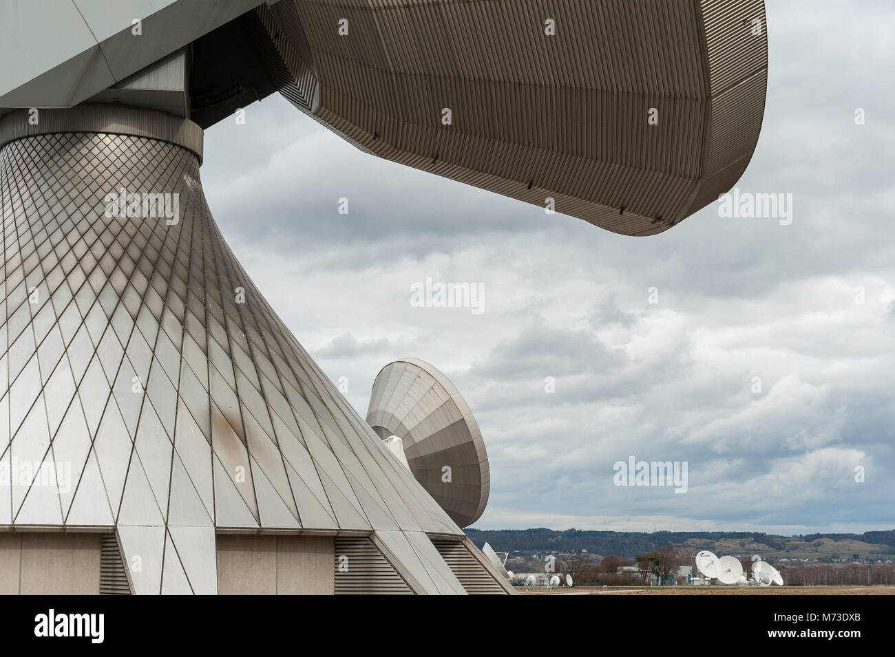 Erdfunkstelle Raisting, Bayern, Deutschland Stockbild