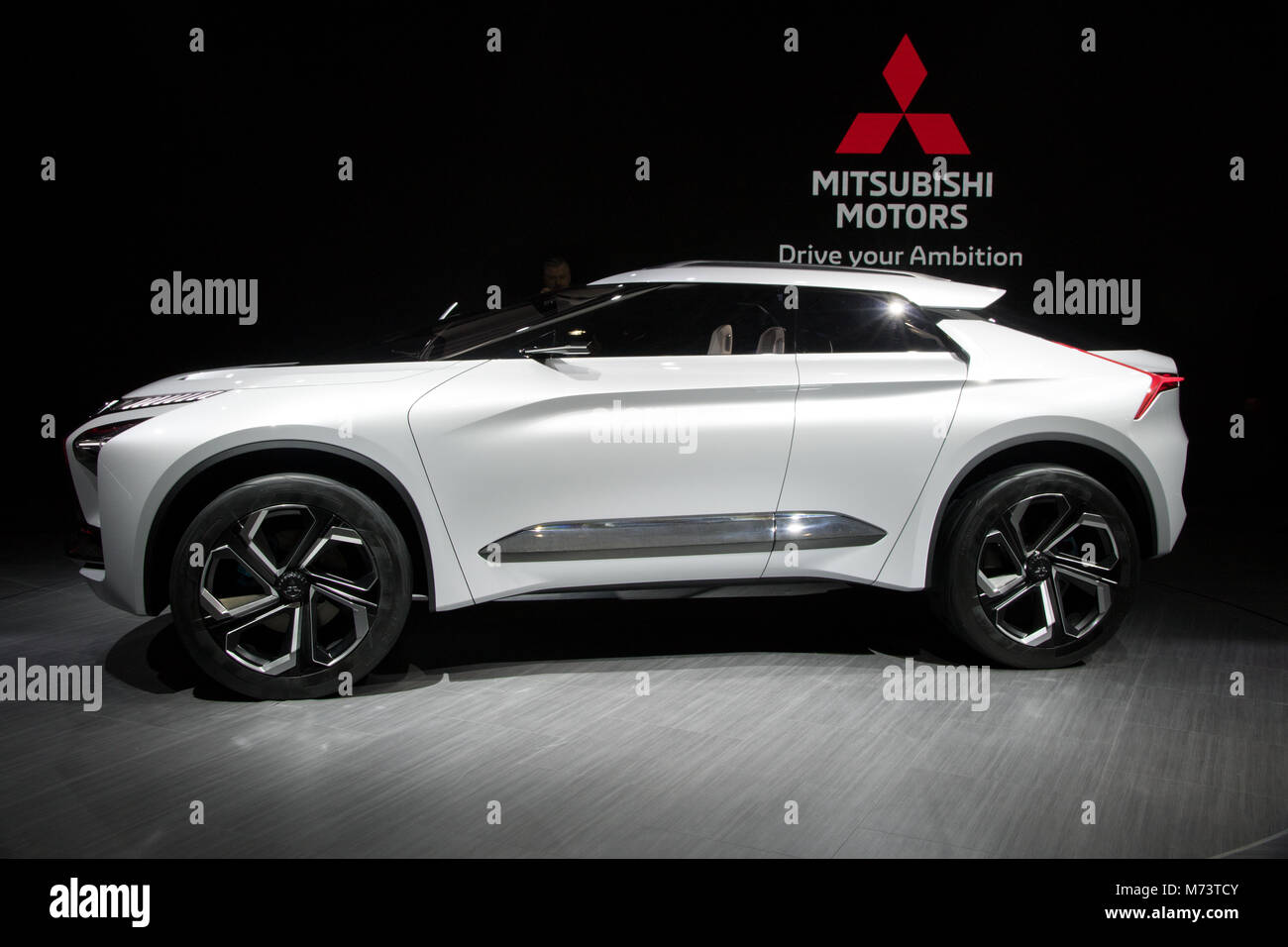 Genf Schweiz 6 Marz 2018 Mitsubishi E Volution Concept Car Das