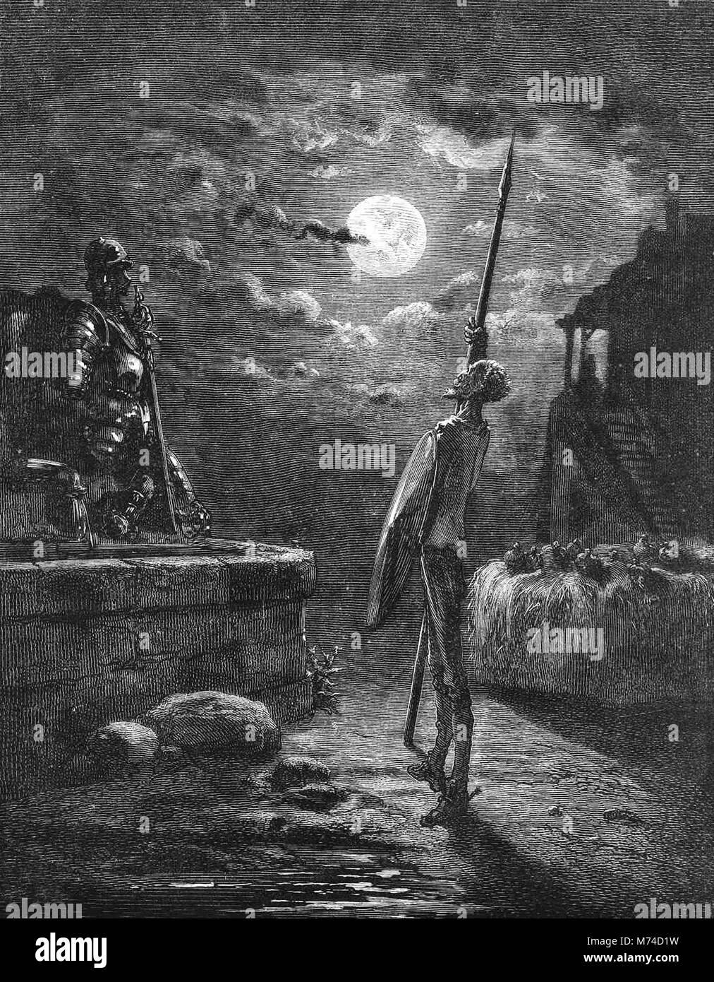 Don Quixote bewacht seine Rüstung, eine Illustration von Gustave Dore aus einer 1880 Edition von Cervantes' Stockbild