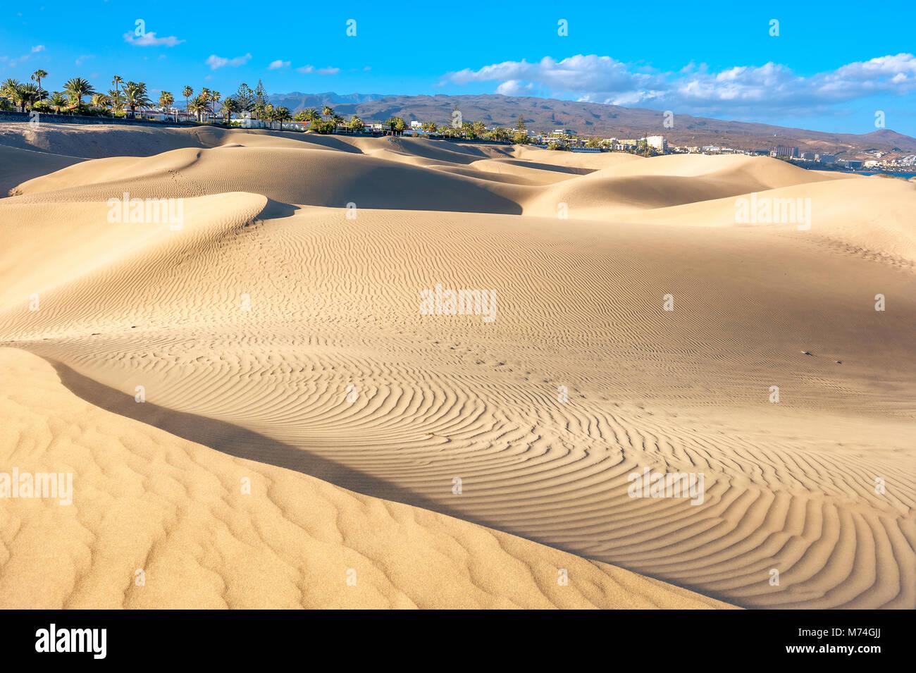 Sanddünen im berühmten natürlichen Strand von Maspalomas. Gran Canaria, Kanarische Inseln, Spanien Stockfoto
