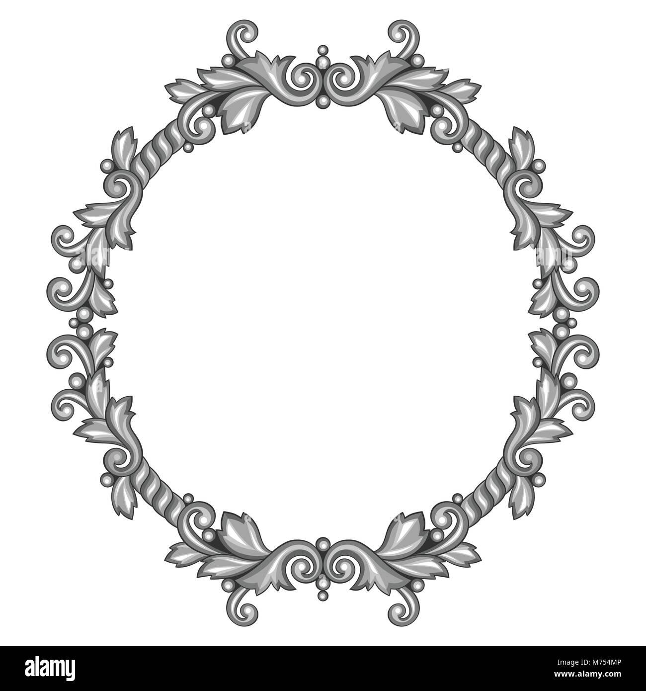 Barocke zier Antik Silber Rahmen auf weißem Hintergrund Vektor ...