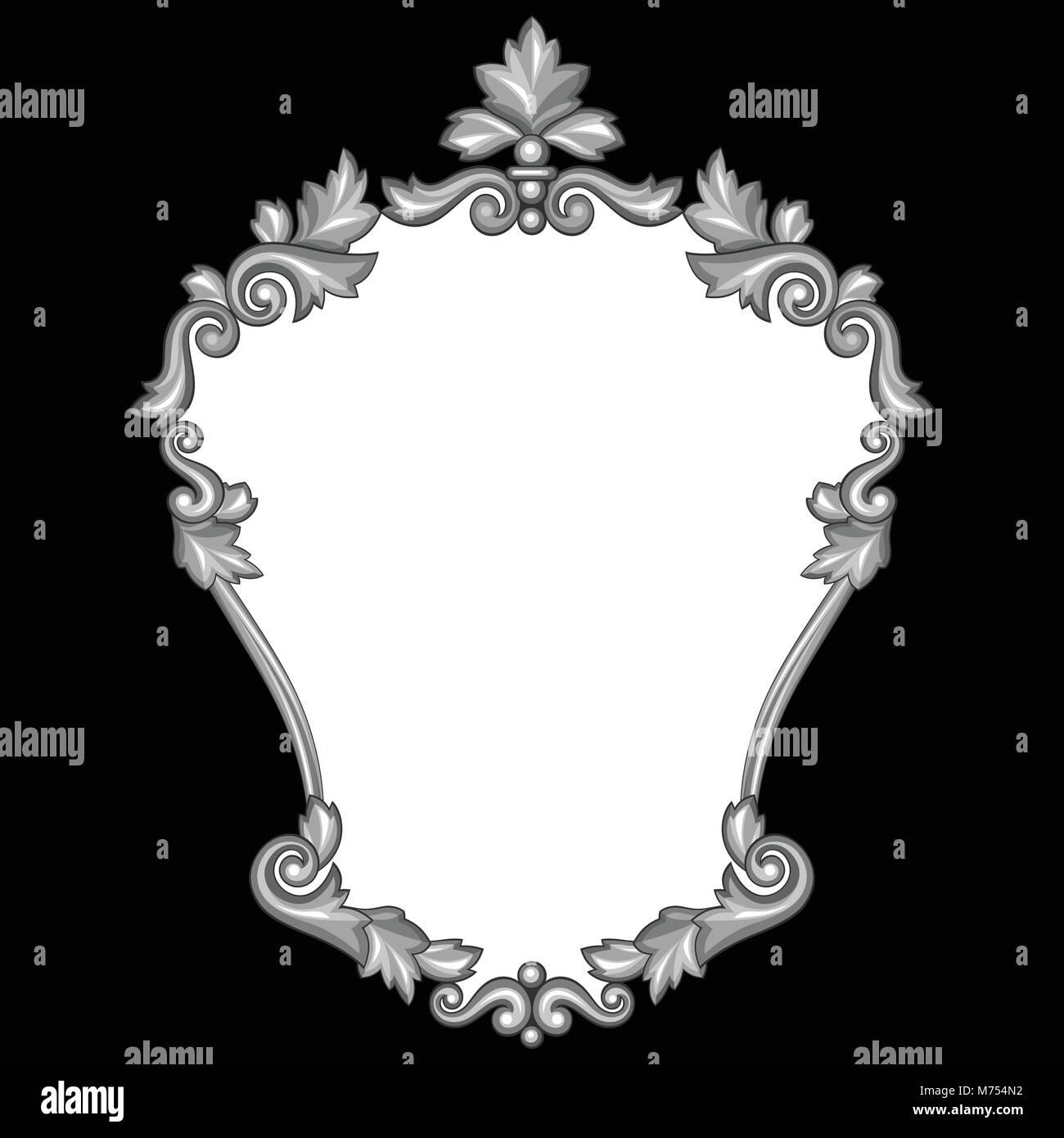 Barocke zier Antik Silber Rahmen auf schwarzem Hintergrund Vektor ...