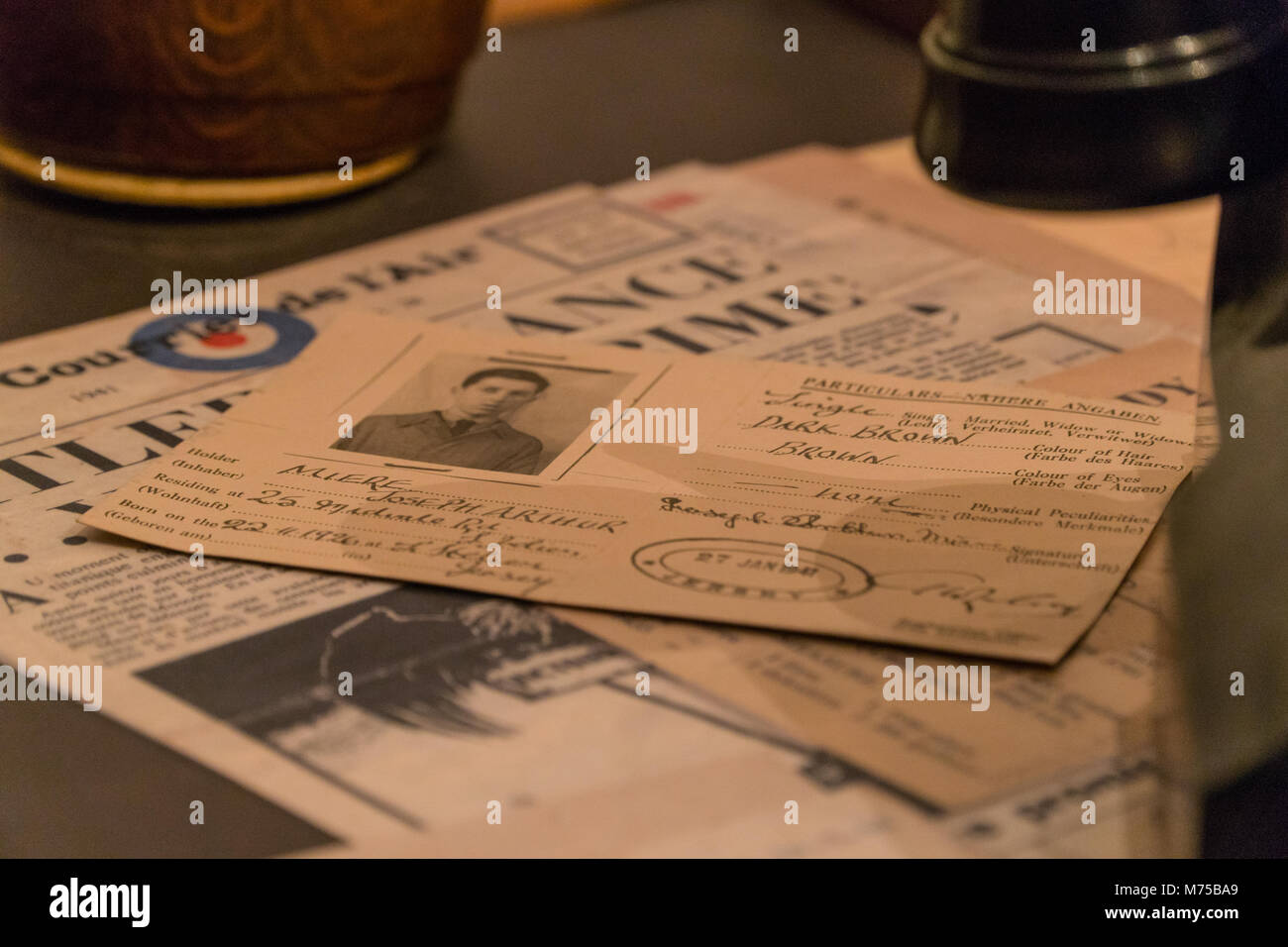 Jersey Beruf Personalausweis auf Anzeige an Krieg Tunnel, Jersey, Channel Islands Stockbild