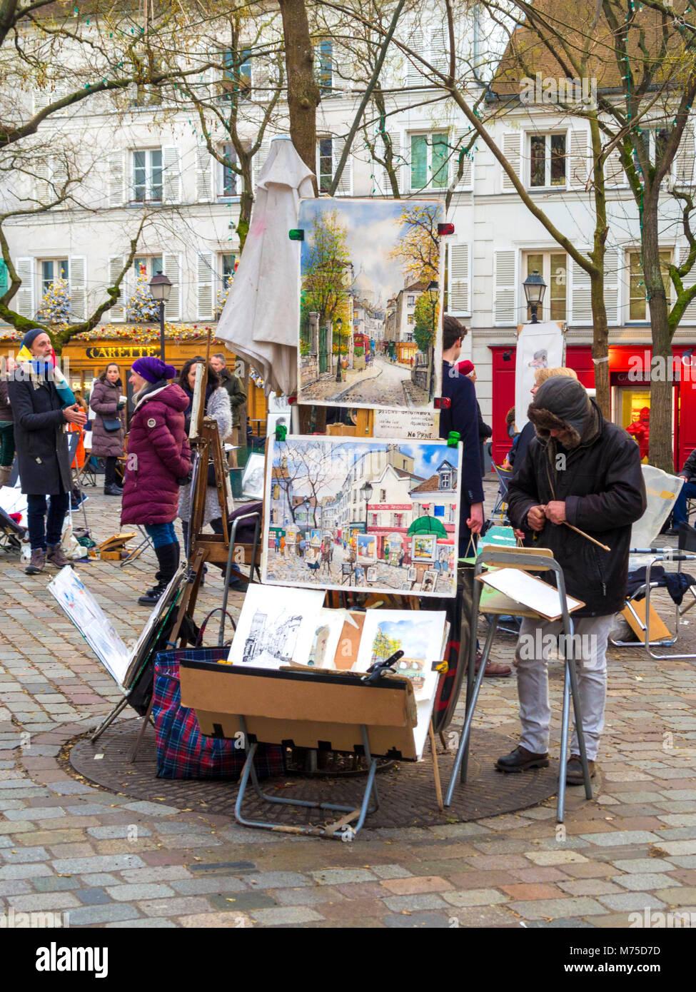 Paris 18 arr. Street artist-in-Place du Tertre, Montmartre, Paris, Frankreich Stockbild