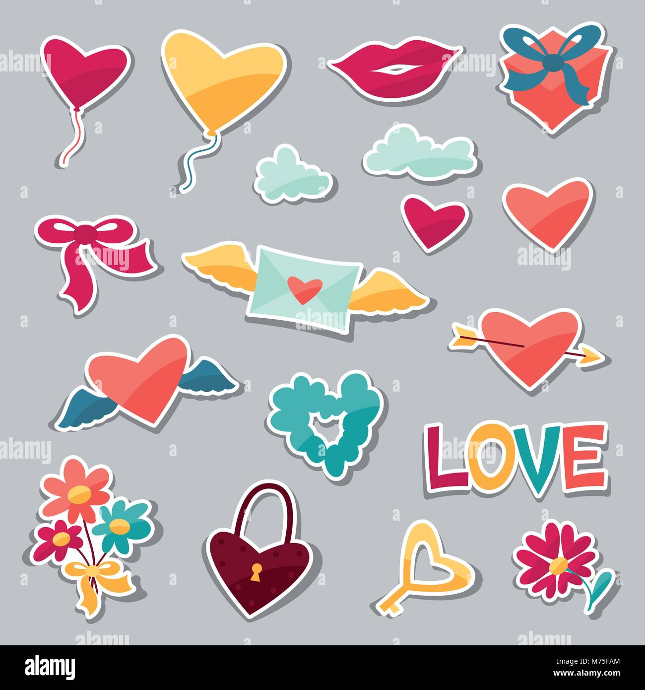Heart Love Wings Romantic Icon Stockfotos & Heart Love Wings ...