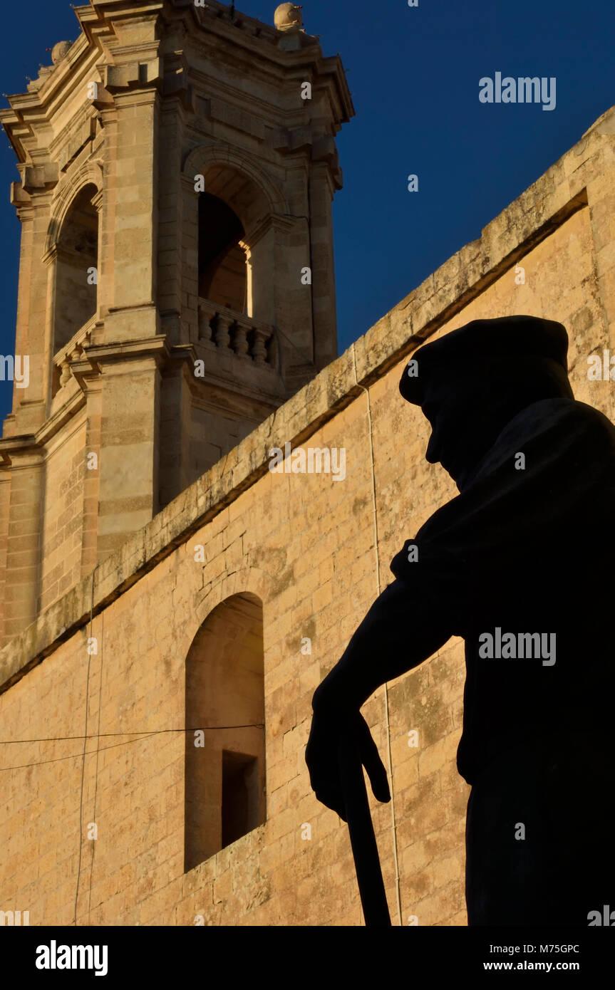 Fren? tal-gharb Statue, die in der Ortschaft Gharb auf Gozo, Malta, Europa Stockbild